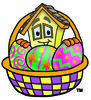 Cartoon House Character with Easter Basket Clipart Picture clipart