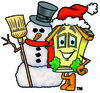 Cartoon House Character with Snowman Clipart Picture clipart