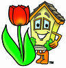 Cartoon House Character with Spring Tulip Clipart Picture clipart