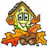 Cartoon House Character with Autumn Leaves Clipart Picture clipart