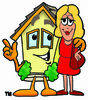 Cartoon House With A Woman clipart