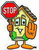 Cartoon House Holding A Stop Sign clipart