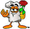 Cartoon Chef With Flowers clipart