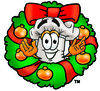 Cartoon Chef With A Christmas Wreath clipart