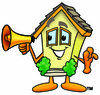 Cartoon House Holding A Megaphone clipart