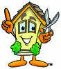 Cartoon House Holding Scissors clipart