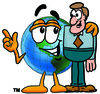 Cartoon Earth With A Man clipart