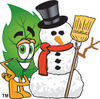 Cartoon Green Leaf With A Snowman clipart