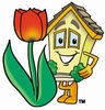Cartoon House With A Tulip clipart