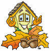 Cartoon House With Autumn Leaves clipart