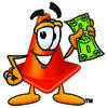Cartoon Construction Cone Holding Money clipart