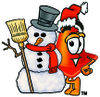 Cartoon Construction Cone With A Snowman clipart