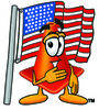 Cartoon Construction Cone With An American Flag clipart