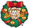 Cartoon Pizza In A Christmas Wreath clipart