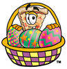 Cartoon Pizza In An Easter Basket clipart
