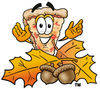 Cartoon Pizza With Autumn Leaves clipart