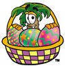 Cartoon Palm Tree In An Easter Basket clipart