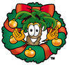 Cartoon Palm Tree In A Christmas Wreath clipart
