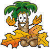 Cartoon Palm Tree With Acorns and Leaves clipart