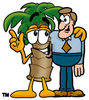 Cartoon Palm Tree With A Male Customer clipart