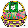 Illustration of Cartoon Dollar Character in an Easter Basket clipart