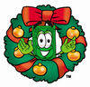 Illustration of Cartoon Dollar Character in a Wreath clipart