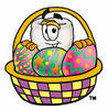 Clipart Cartoon Tooth Character in a Easter Egg Basket clipart