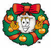 Clipart Cartoon Tooth Character in a Wreath clipart