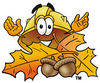 Cartoon Hard Hat With Leaves in Autumn clipart