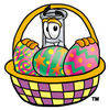 Illustration of Cartoon Beaker in a Easter Basket clipart