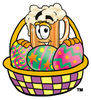 Illustration of Cartoon Beer Mug Character in a Easter Basket clipart