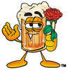 Illustration of Cartoon Beer Mug Character Holding a Rose clipart