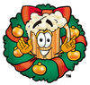 Illustration of Cartoon Beer Mug Character in a Wreath clipart