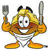 Cartoon Hard Hat With Knife And Fork clipart