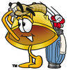 Cartoon Hard Hat Playing Golf clipart