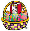 Illustration of Cartoon Book Character in an Easter Basket clipart