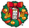 Illustration of Cartoon Book Character in a Wreath clipart