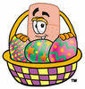 Illustration of a Cartoon Band Aid Character in an Easter Basket clipart