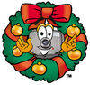 Cartoon Camera Character Christmas Wreath clipart