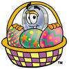 Cartoon Magnifying Glass Character In Easter Basket clipart