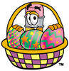 Cartoon Pencil Character In Easter Basket clipart
