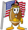 Cartoon Football Character Standing By American Flag clipart