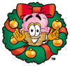 Clipart Cartoon Ice Cream Cone Character in a Wreath clipart