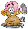 Clipart Cartoon Ice Cream Cone Character with a Thanksgiving Turkey clipart