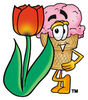 Clipart Cartoon Ice Cream Cone Character Leaning on a Rose clipart
