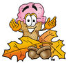 Clipart Cartoon Ice Cream Cone Character with Leaves and Acorns clipart