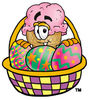 Clipart Cartoon Ice Cream Cone Character in an Easter Basket clipart