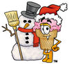 Clipart Cartoon Ice Cream Cone Character with a Snowman clipart