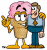 Clipart Cartoon Ice Cream Cone Character with Man clipart