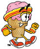 Clipart Cartoon Ice Cream Cone Character Exercising clipart